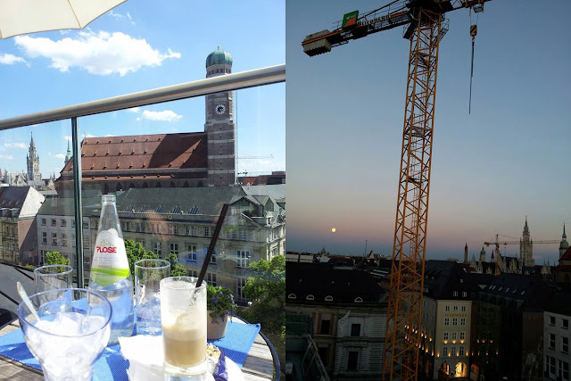 Blue Spa coffee drinking and later the fullmoon watching, Frauenkirche, summertime and a big crane