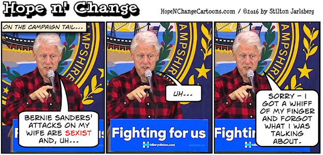 obama, obama jokes, political, humor, cartoon, conservative, hope n' change, hope and change, stilton jarlsberg, new hampshire, clinton, sanders, sexism