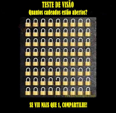 Teste de visão - Quantos cadeados estão abertos?