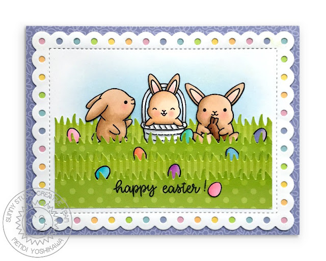 Sunny Studio Stamps: Chubby Bunny Easter Card (using Frilly Frames Dies, Flirty Flowers, Dots & Stripes Pastel Paper and Happy Thoughts stamps)