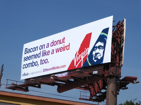 Bacon on donut Virgin Alaska billboard