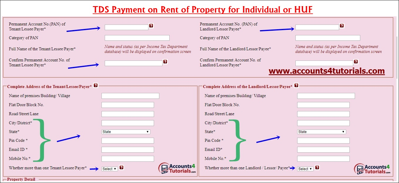 online payment of tds on property - Accounting & Taxation