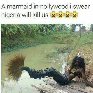 lols.... nigerian movie industry just exposed a scene of how their mair-maid looks like