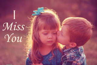 cute child couple kissing image with i miss you