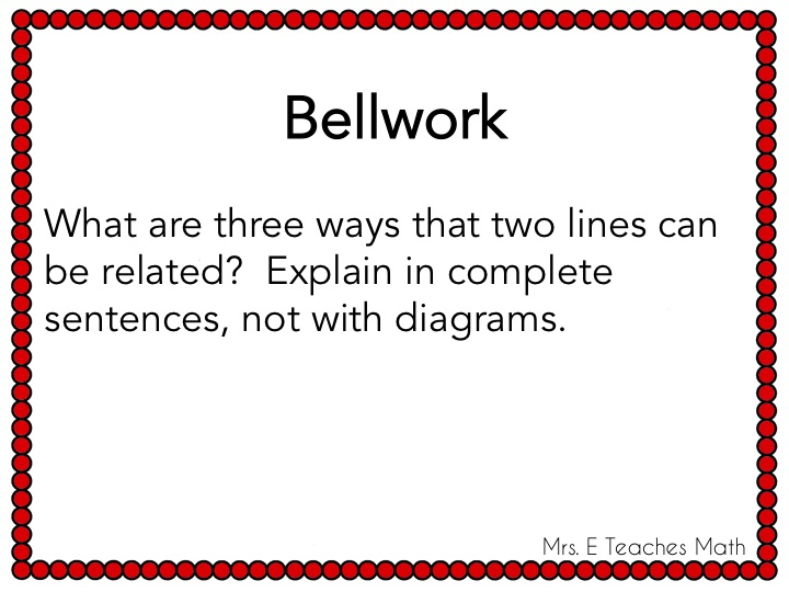 Incorporating Writing in Math - algebra and geometry warmups  |  mrseteachesmath.blogspot.com