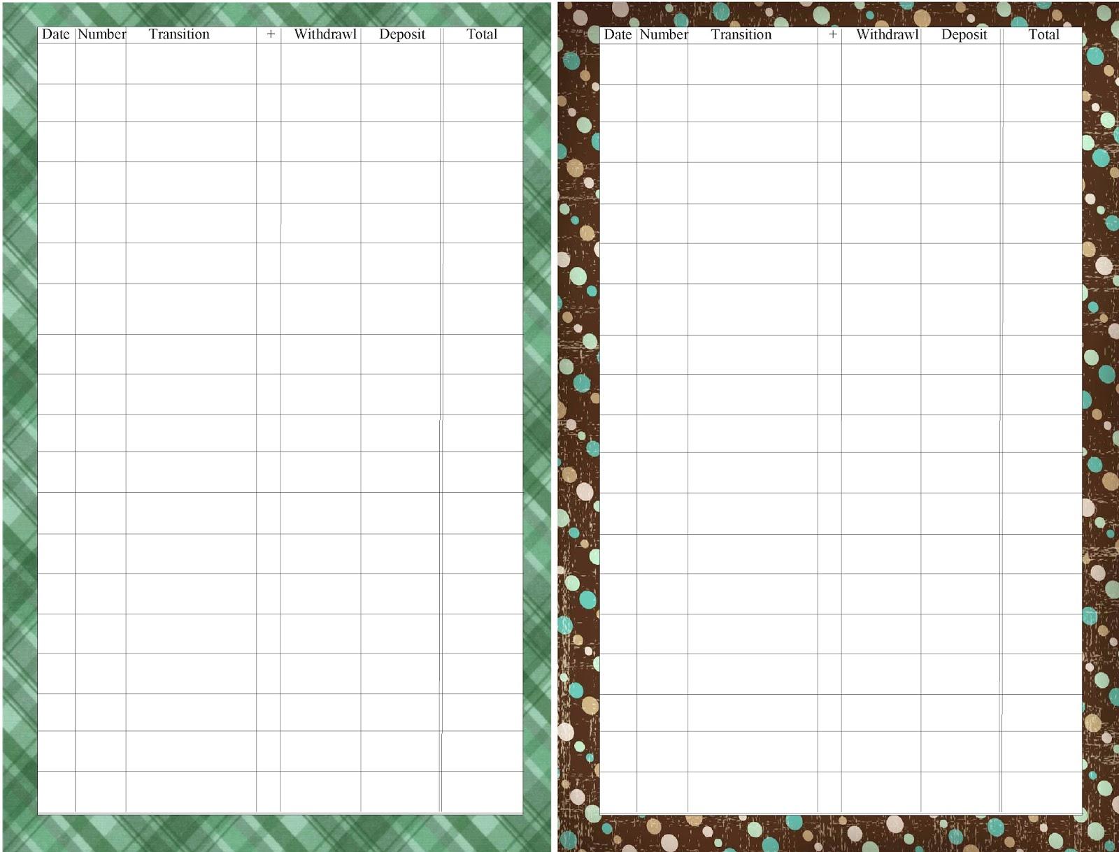 Travel Checkbook Register Printable For Your Planner
