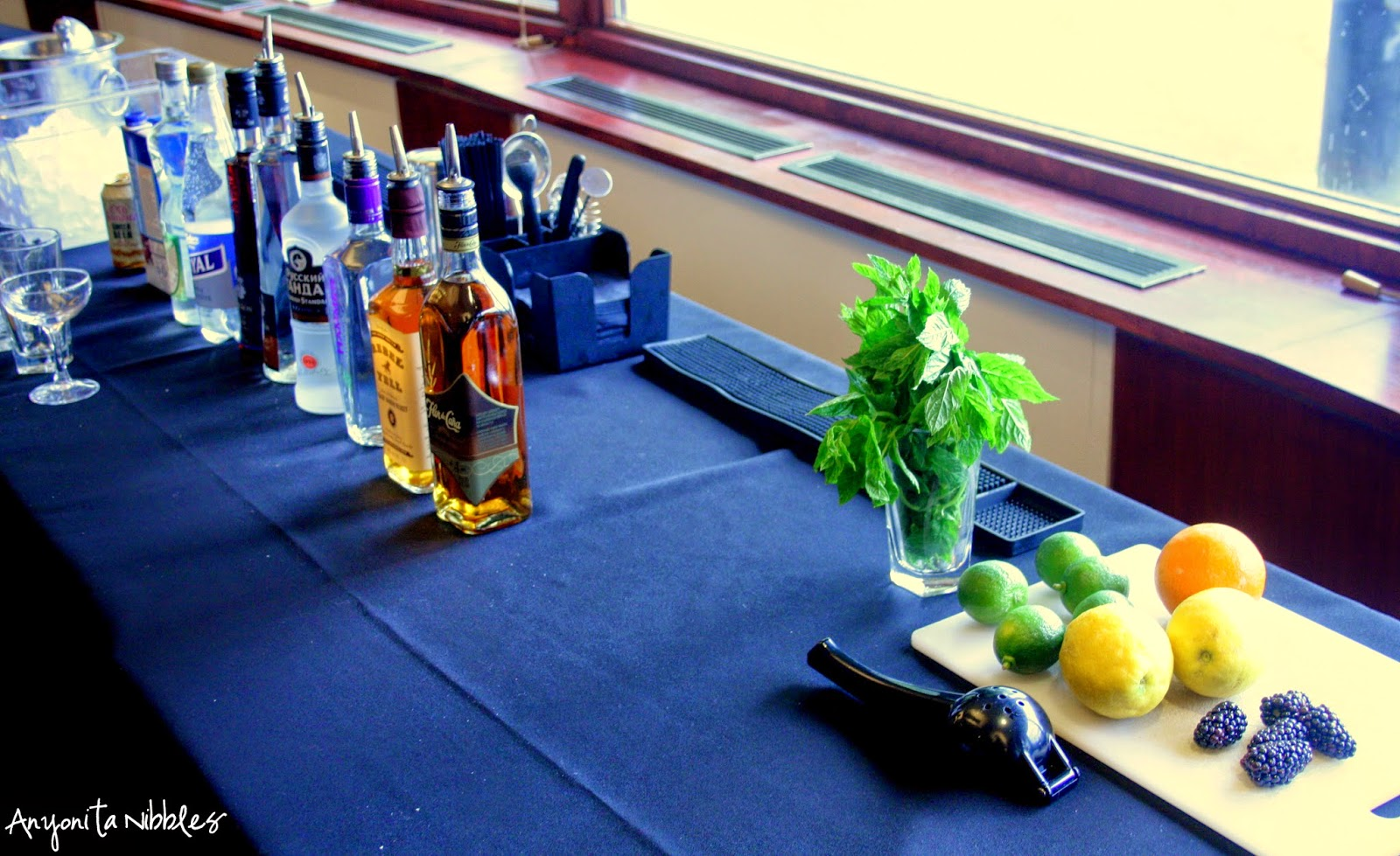 The set up of our bar at the cocktail masterclass in Manchester from Anyonita Nibbles