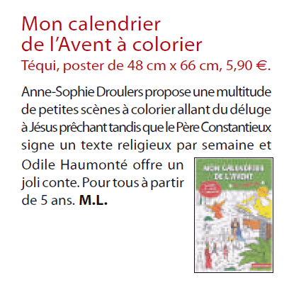 Librairie pierre t qui mon calendrier de l 39 avent colorier dans l 39 homme nouveau - Calendrier de l avent homme ...