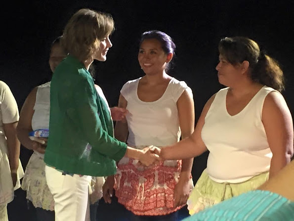 Queen Letizia of Spain met with members of a artistic group funded by the Spanish cooperation at Spain's Cultural Centre in San Salvador,