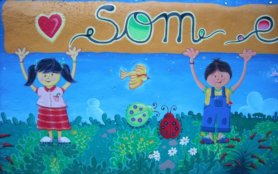 Joan seriny mural infantil pintado for Mural la misma luna