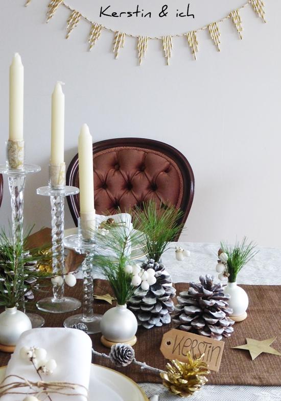 kerstin ich selbermachen weihnachtliche tischdeko mit. Black Bedroom Furniture Sets. Home Design Ideas