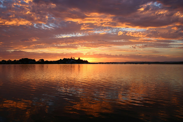 beautiful orange reflective lake