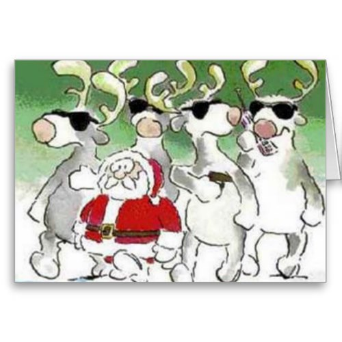 Santa and Secret Service Reindeer | Funny Christmas Card
