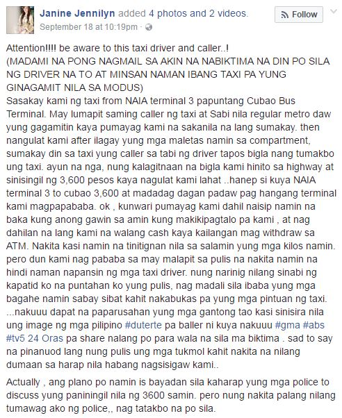 taxi driver modus NAIA