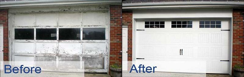 painting garage door before and after #2