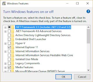 Install .NET Framework 3.5 On Windows 10