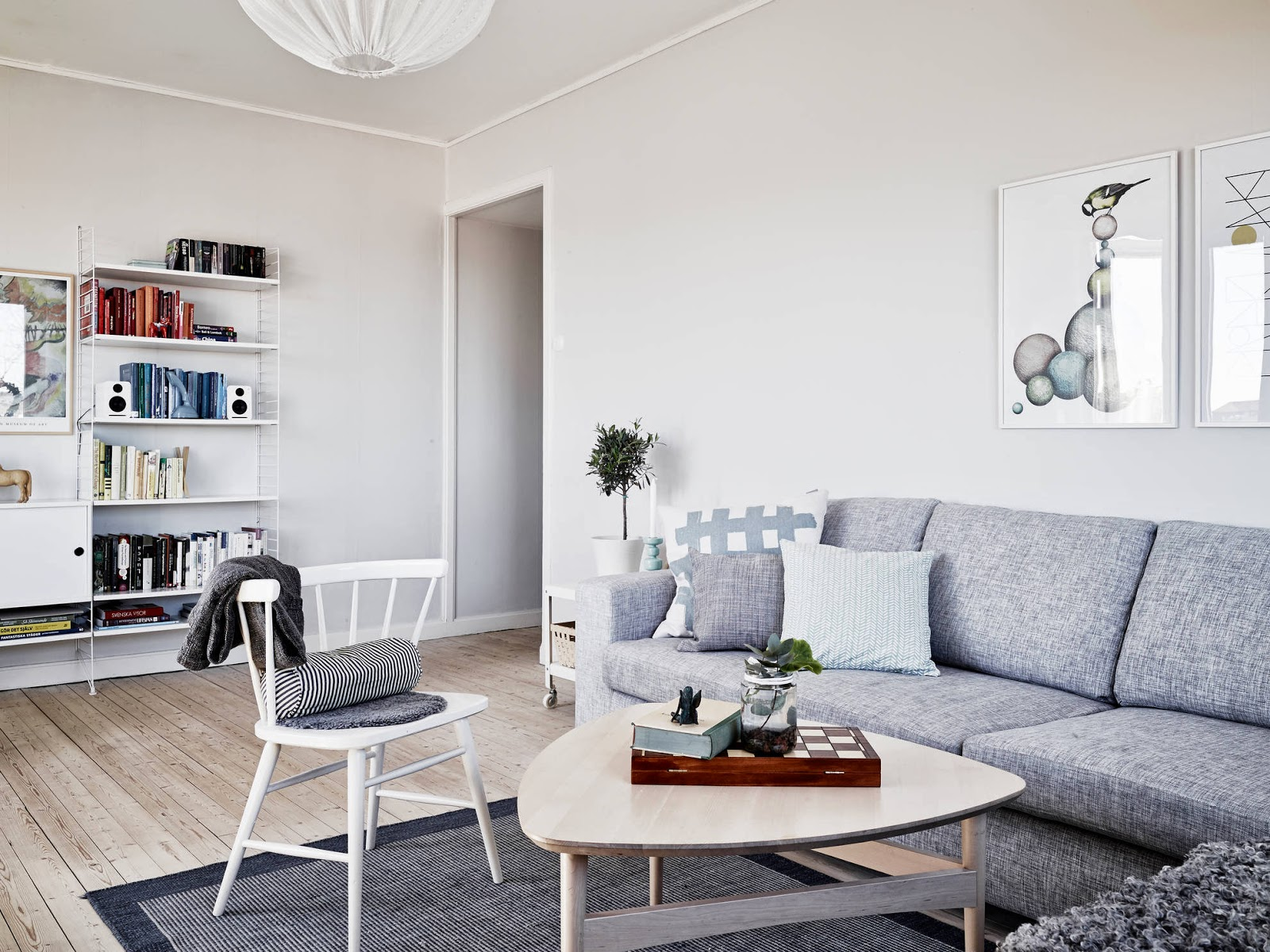 my scandinavian home a light and airy white and grey swedish apartment. Black Bedroom Furniture Sets. Home Design Ideas