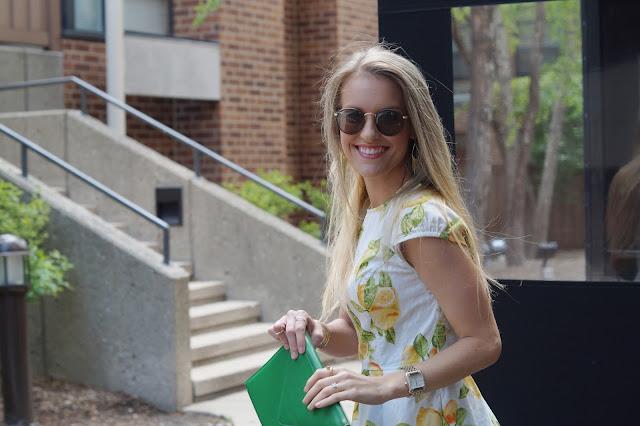 Chicago fashion blogger lemon dress