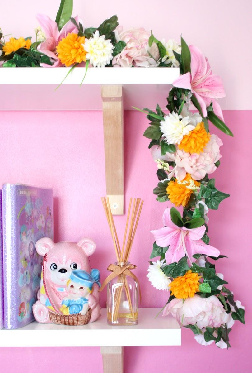diy flower garland bedroom decor