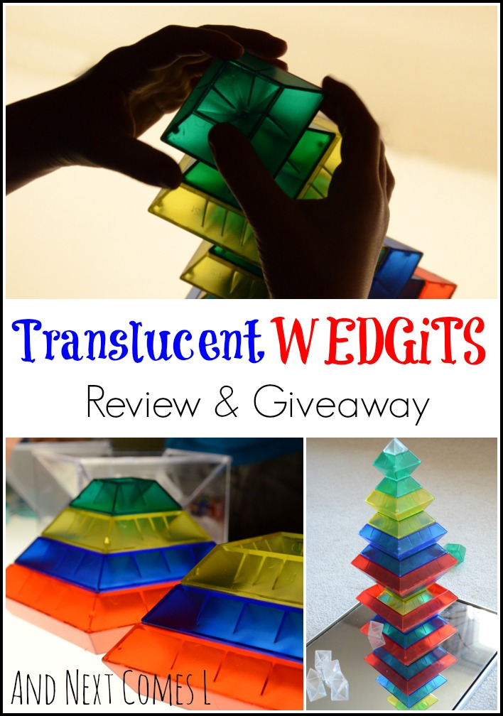 Review & Giveaway: Building, exploring, and creating with translucent WEDGiTS on the light table and with mirrors from And Next Comes L