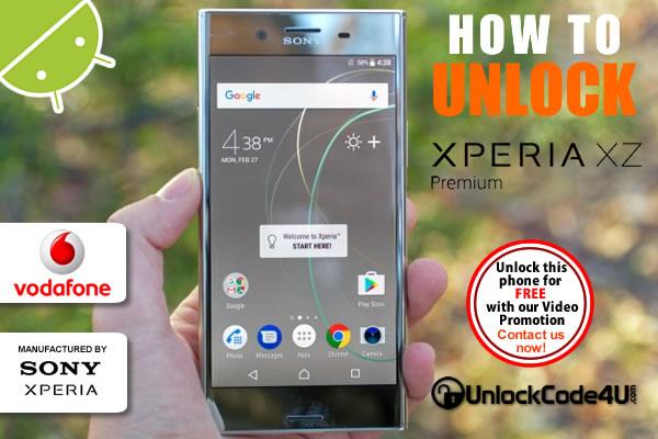Factory Unlock Code Sony Xperia XZ Premium from Vodafone