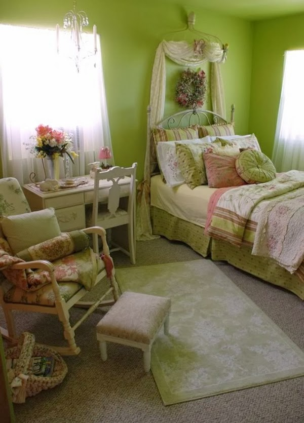 dormitorio chica rosa verde
