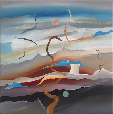 Abstract landscape painting by Olivier Hijmans