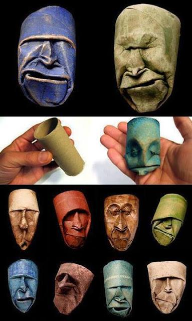 Arte con tubos de cartón del papel higiénico
