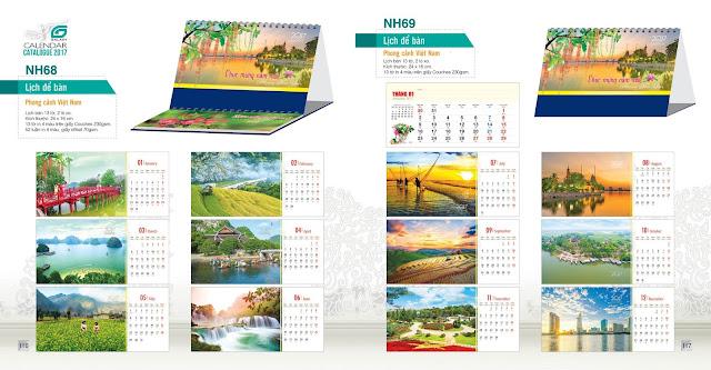 Mẫu lịch bàn NH68, NH68, Phong cảnh Việt Nam