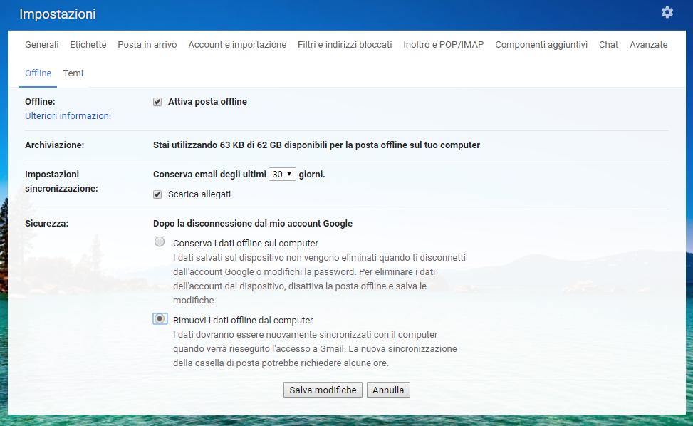 Lavorare offline con Gmail