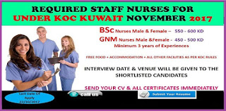 Required Nurses Under KOC Kuwait