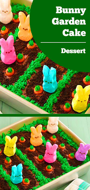 This festive bunny garden cake is quick and easy to make, thanks to the help of these adorable PEEPS® marshmallow bunnies. #bunnies #marshmallow #cake #bunny #garden #cake #easter #dessert