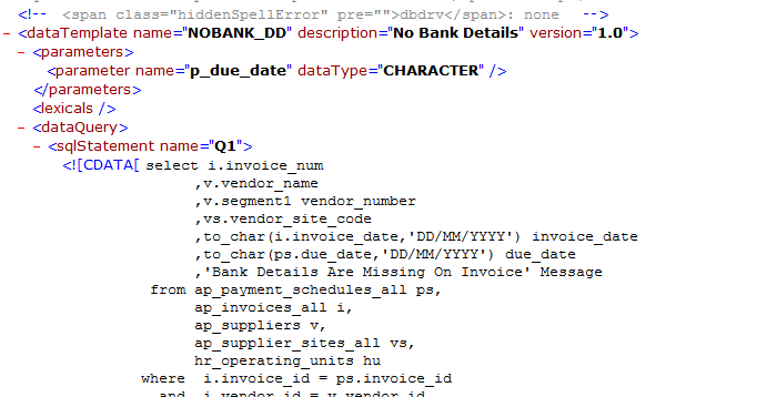 date format in xml publisher template - oracle apps solutions xml publisher report with data