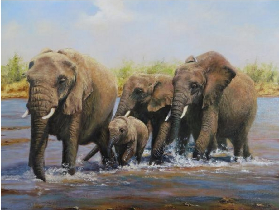 Paul Harley The Crossing on the Luangwa River, Africa at the Wallington Gallery