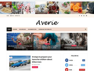 Averie бесплатный шаблон для Blogger 2018