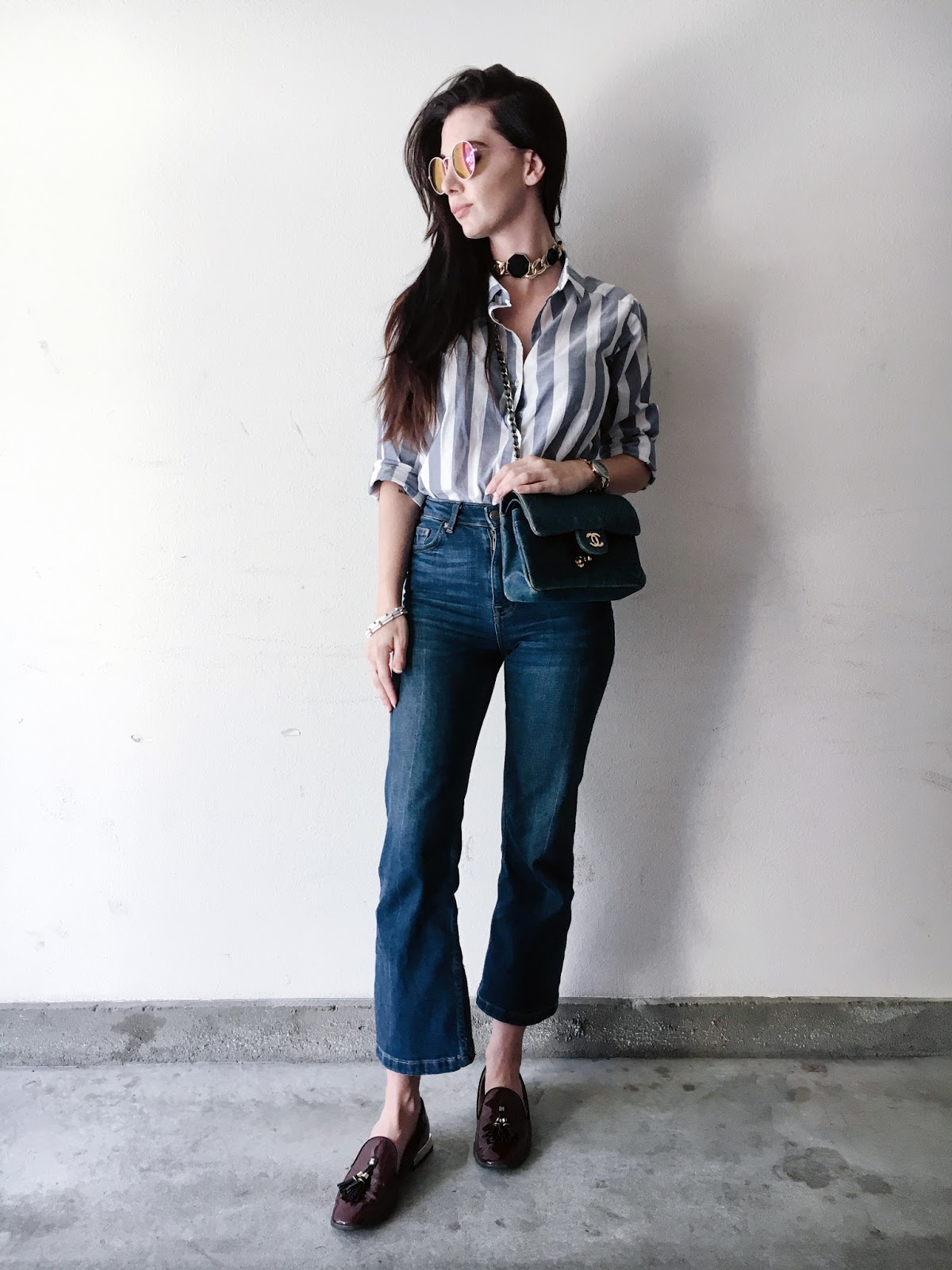 striped button up, cropped flared jeans, cropped flares, simple outfit, jeans and button up, loafers, denim on denim, street style, tourdestfu, choker