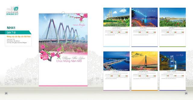 NH40 - Những cây cầu đẹp của việt nam, Lịch treo tường 7 tờ, in lịch, mẫu lịch đẹp,