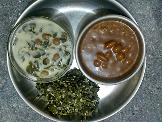 Moringa greens poriyal,  Sorghum mini dumplings in Moringa Stew  and Jaggery syrup