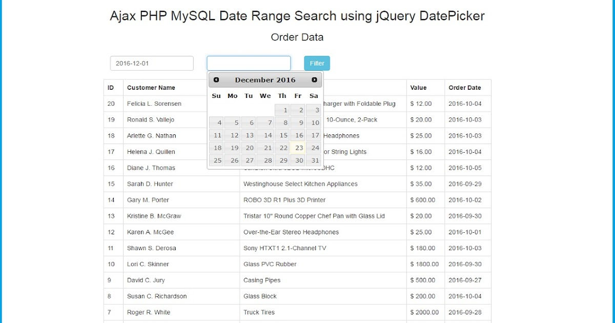 Ajax with PHP MySQL Date Range Search using jQuery