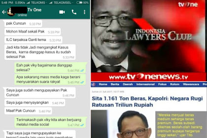 Dhuarr! ILC TV One Tiba-tiba Batal Angkat Kasus Beras Maknyuss, Petani Kecewa Media Dibungkam