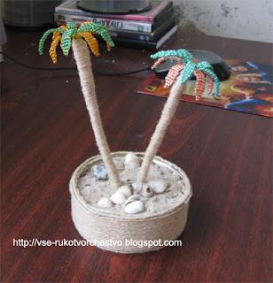 Дерево пальма из бисера для начинающих. Схемы