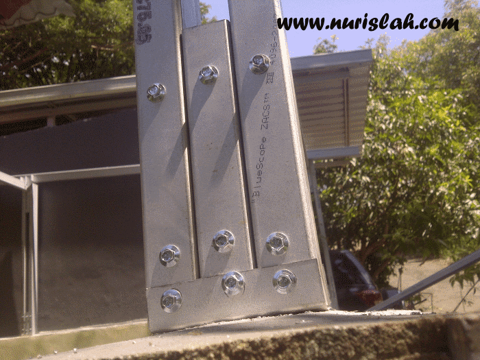 kanopi baja ringan tanpa tiang penyangga membuat sendiri nur islah