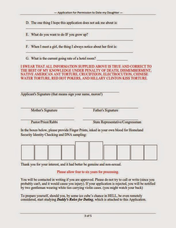 Filled in dating application form