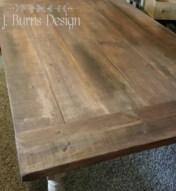 recreating a salvaged wood finish on a heart pine farm table with unicorn spit