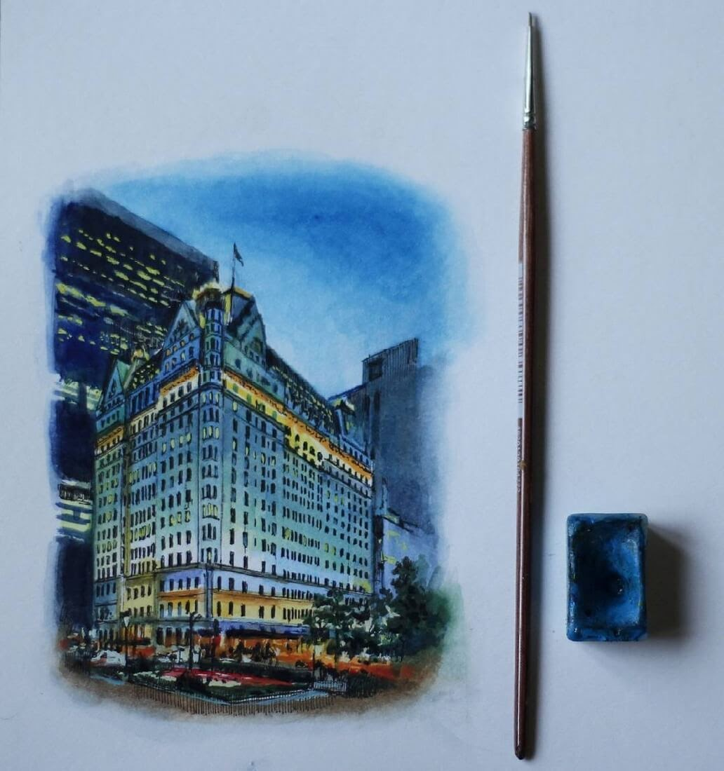 15-Plaza-hotel-New-York-Martha-Nyrkova-Urban-Sketching-Drawings-and-Paintings-www-designstack-co
