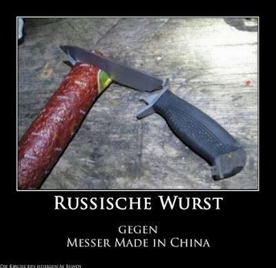 Lustiger Produkttest - Messer aus China gegen feste russische Wurst