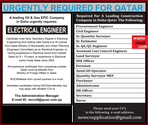 Urgently Required For Oil &Construction Company Doha Qatar - Gulf