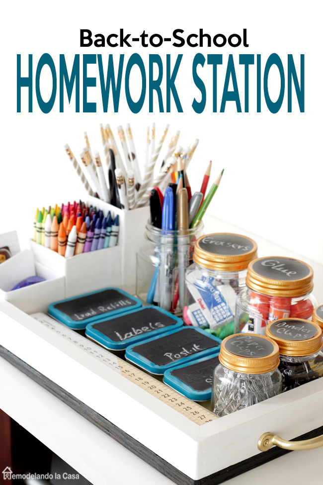 A tray is used for corralled school supplies to create a homework station
