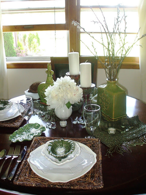 rustic tablescape for summer with green and white color scheme