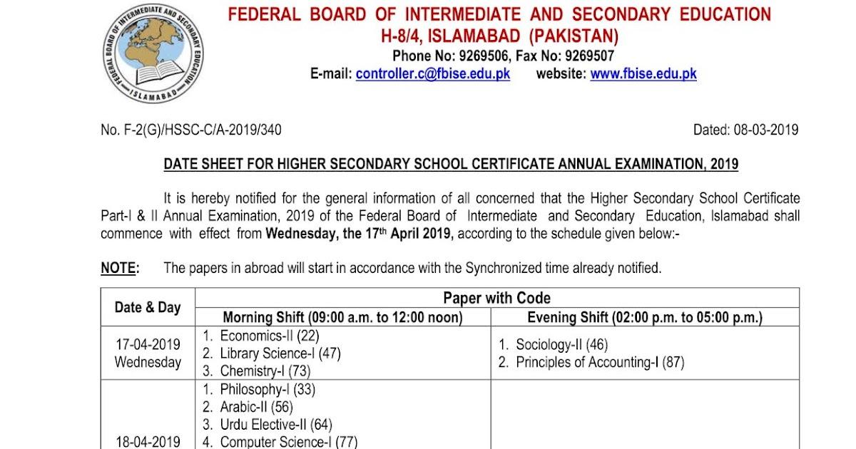 HSSC Inter Part 1 & Part 2 FBISE Federal Board Date Sheet 2019